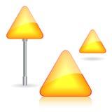 Drei gelbe Verkehrsschilder für Ihr Design Stockfotos