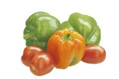 Drei Gemüsepaprikas mit Tomaten Stockfotografie