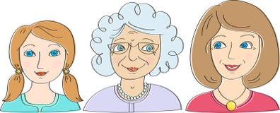 Drei Generationen von Frauen: die Enkelin, Mutter, Großmutter lizenzfreie abbildung