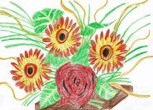 Drei Gerberas und eine Rose in einem Blumenstrauß lizenzfreie abbildung