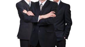 Drei Geschäftsmänner in den Klagen Geschäftskonzeptführer ARBEITSKRÄFTE Lokalisiert auf Weiß Lizenzfreie Stockfotografie
