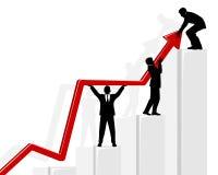 Drei Geschäftsmänner, die Diagramm halten Stockfotos
