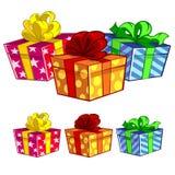 Drei Geschenkkästen stock abbildung