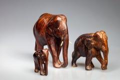 Drei geschnitzte Elefanten, Indien Lizenzfreies Stockbild