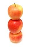 Drei gestapelte Äpfel stockbild