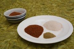 Drei Gewürze für Enchilada sauce auf einer weißen Platte, die auf einer grünen Tischdecke sitzt lizenzfreies stockbild