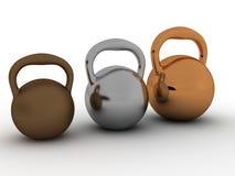 Drei Gewichte werden ââof gebildet, â2 zu bronzieren Lizenzfreies Stockfoto