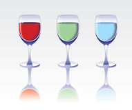 Drei Gläser des Getränks. Stockfoto