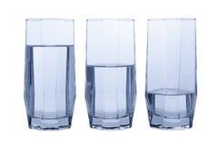 Drei Gläser klares Wasser Stockbild
