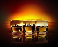 Drei Gläser Whisky Stockbild