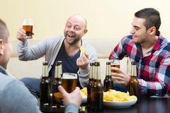 Drei glückliche Freunde, die Bier trinken Stockbild