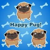 Drei glückliche Hunde auf einem blauen Hintergrund mit den Knochen stock abbildung