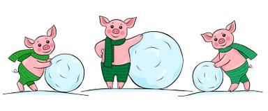 Drei glückliche kleine Schweine, die Schneebälle rollen stock abbildung