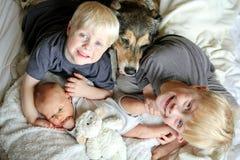 Drei glückliche Kleinkinder, die mit Schoßhund im Bett sich anschmiegen lizenzfreies stockfoto