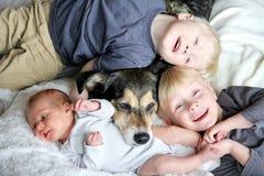 Drei glückliche Kleinkinder, die mit Schoßhund im Bett sich anschmiegen stockfoto