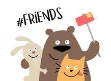Drei glückliche Tierfreunde macht das selfie mit Smartphone Der Freunde Illustrationskarikatur-Vektorplakat für immer stock abbildung