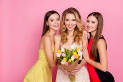 Drei glückliches Bezaubern, hübsche Mädchen in den eleganten Kleidern mit den Haaren Lizenzfreie Stockfotografie