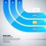 Drei glatte gekrümmte Linien, die von Ecke zu Ecke laufen Es ist für infographics und Werbung nützlich Stockbild