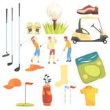 Drei Golfspieler, die das Golf umgeben durch Sport-Ausrüstungs-und Spiel-Attribut-Karikatur-Vektor-Illustration spielen vektor abbildung
