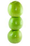 Drei grüne Äpfel Stockfotografie
