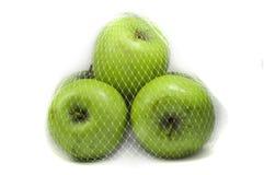 Drei grüne Äpfel Stockfotos