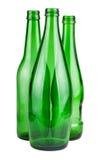 Drei grüne leere Flaschen Stockbilder