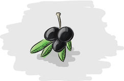 Drei grüne Oliven Stockfotografie