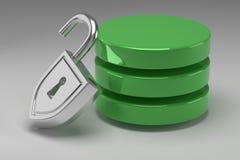 Drei grüne Scheiben im Stapel und in entriegeltem Stahlvorhängeschloß Greifen Sie bewilligt zu den Daten oder zur Datenbank zu Ko stockbilder