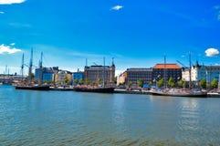 Drei große Segelschiffe in Helsinki, Finnland Lizenzfreies Stockfoto