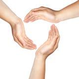 Drei Hände Lizenzfreie Stockfotos