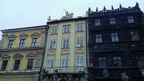 Drei Häuser Stockbild
