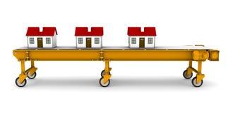 Drei Häuser gehen Förderband weiter Stockbilder