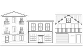 Drei Häuser von verschiedenen Höhen Stockfotos