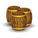 Drei hölzerne Fässer mit Aufkleber ` RUM ` stock abbildung