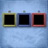 Drei hölzerne Rahmen für Porträtmalerei Lizenzfreies Stockfoto