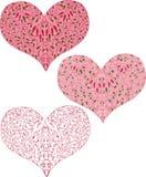 Drei Hand gezeichnete Herzen Lizenzfreies Stockbild