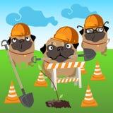 Drei Hundeerbauer pflanzen einen Baum stock abbildung
