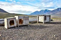 Drei Hundehütten in Spitzbergen, Svalbard Stockbild