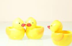 Drei interessante Enten Stockfotos