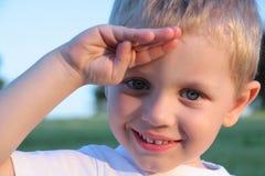 Drei Jahre alte Jungengeste Stockfotografie