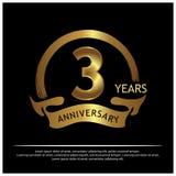 Drei Jahre Jahrestag golden Jahrestagsschablonenentwurf für Netz, Spiel, kreatives Plakat, Broschüre, Broschüre, Flieger, Zeitsch vektor abbildung