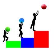 Drei Jobstepps zum Erfolg. Stockfoto