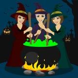 Drei junge Hexen Halloweens, die Trank machen stock abbildung