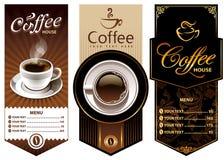 Drei Kaffeeauslegungschablonen Stockbilder