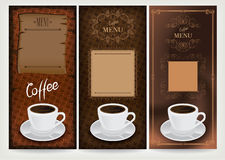 Drei Kaffeeauslegungschablonen. Lizenzfreies Stockbild