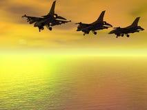 Drei Kampfflugzeug F-16-Strahlen Lizenzfreie Stockfotos