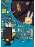 Drei Kaninchen auf Raum mit Rakete Auch im corel abgehobenen Betrag Lizenzfreies Stockfoto