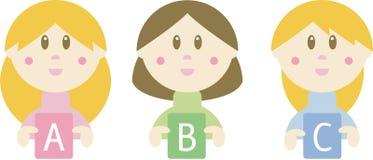 Drei Karikaturmädchen, die ABC-Zeichen anhalten Lizenzfreie Stockfotografie