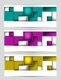 Satz Fahnen mit quadratischen Zeichnungen Lizenzfreies Stockfoto