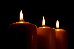 Drei Kerzen Stockbild